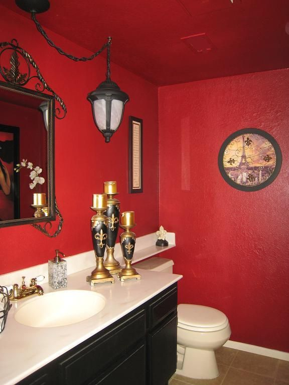 60 Bathroom Red and Black Ideas | Red bathroom decor ...