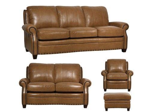 Luke Leather - Bennett Italian 4 Piece Leather Sofa Set - LUK-BENNETT-SLCO