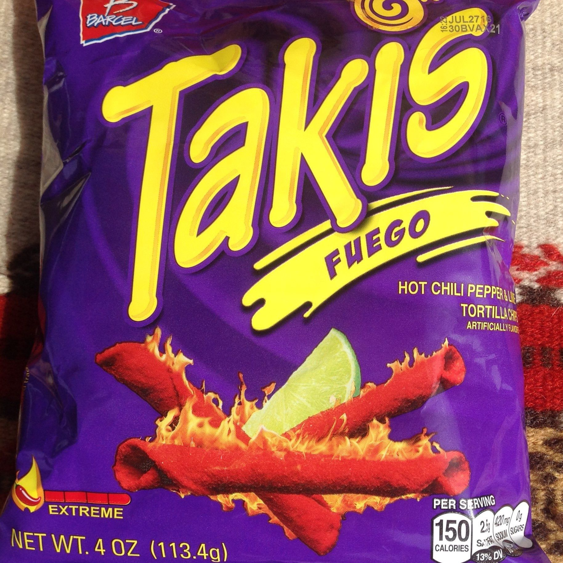 Six 4 Ounce Bags Takis Fuego Extreme Hot Chili Pepper Lime