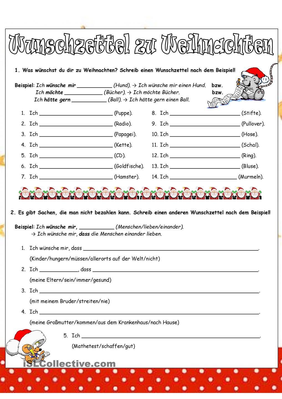 Wunschzettel zu Weihnachten | Dativ - Akkusativ | Pinterest | German ...