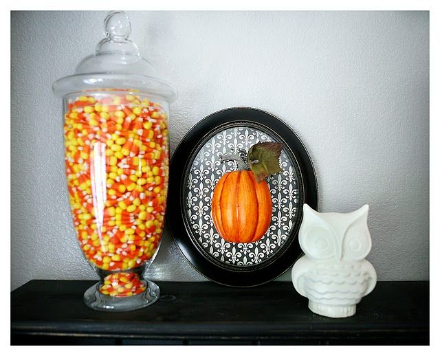 Love the candy corn in the class container Maybe with a black and - halloween class decoration ideas