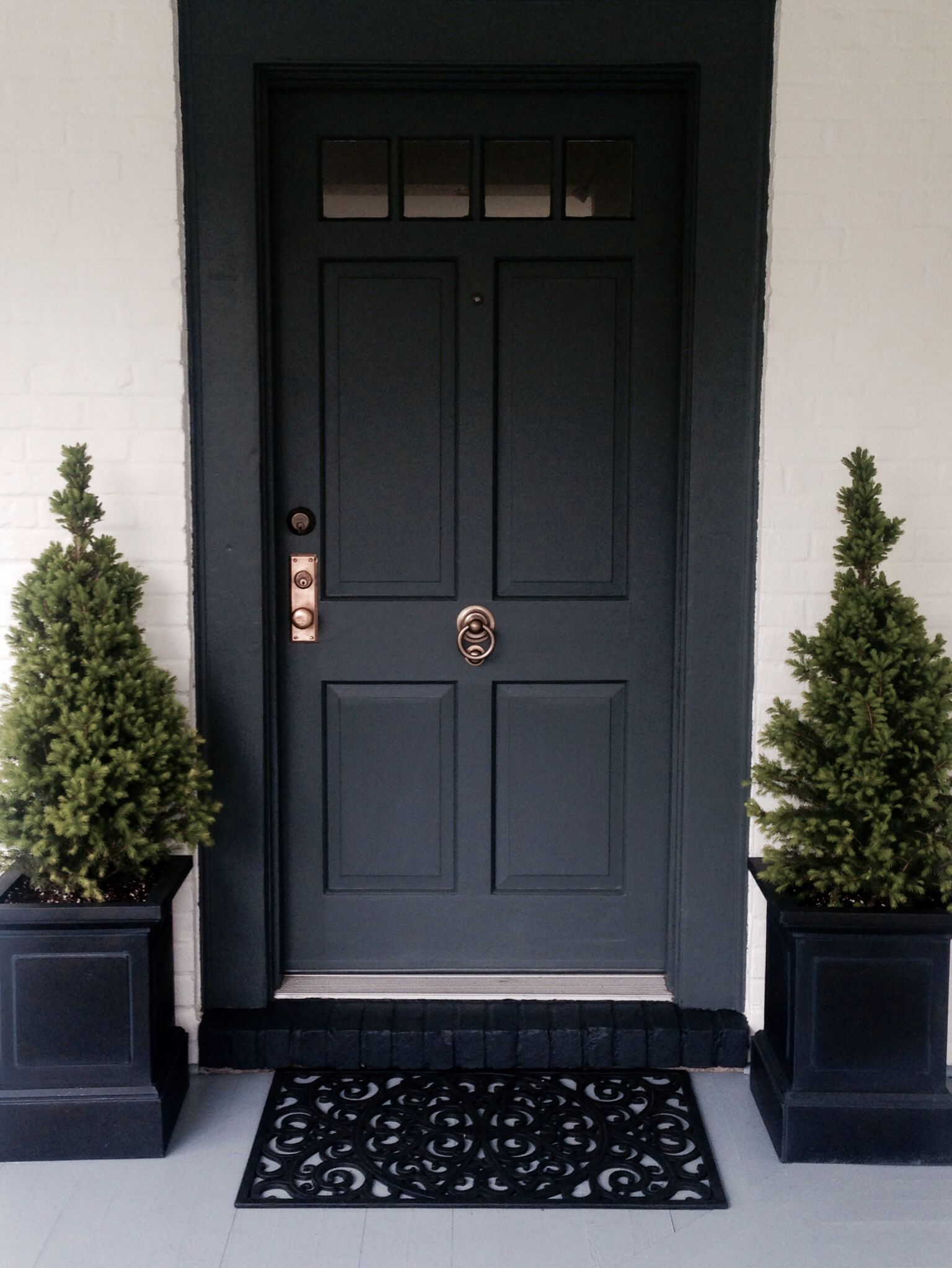 Front door painted in farrow ball down pipe for the home - Farrow and ball exterior paint ideas ...