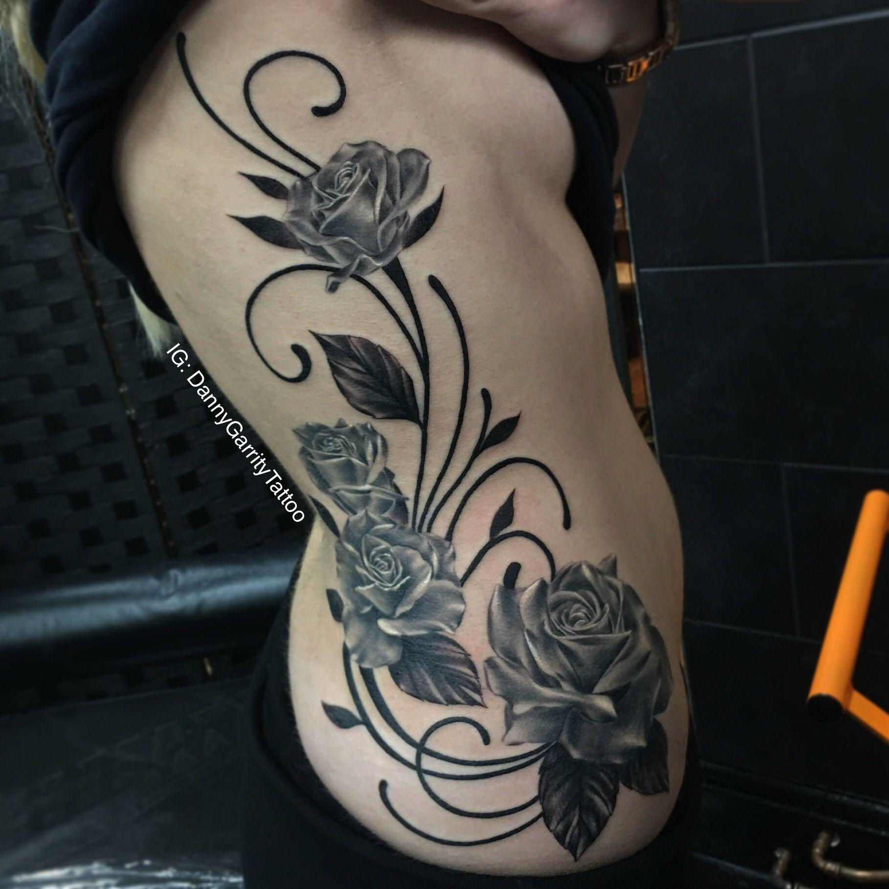 Women S Rib Tattoo Roses And Swirls Rib Tattoos For Women Rib Tattoo Tattoos