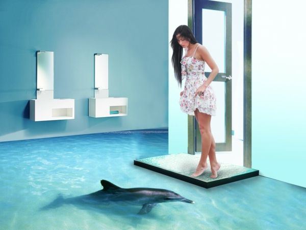epoxidharz badezimmer 3d bodenbelag delfin | einrichten und wohnen