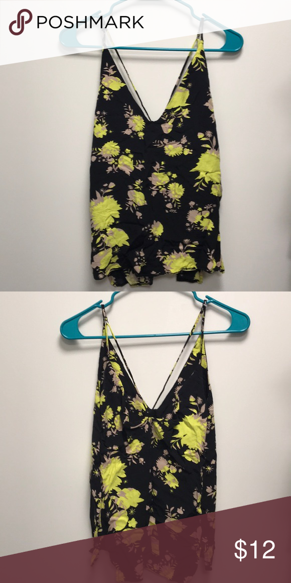 6972dabd2f0 Floral tank top Bright yellow and black floral tank with strap detail Topshop  Tops Tank Tops