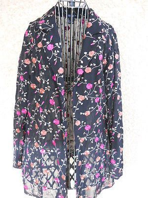 Karen Kane Shirt Size 6 Black Pink Floral Embroidered Sheer Long Sleeves New NWT