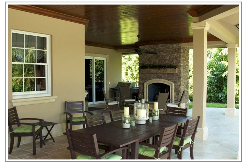 BCBE Custom Homes remodeled this home and incorporated a new outdoor living space with fireplace & pool. It is amazing what BCBE can do to any home.