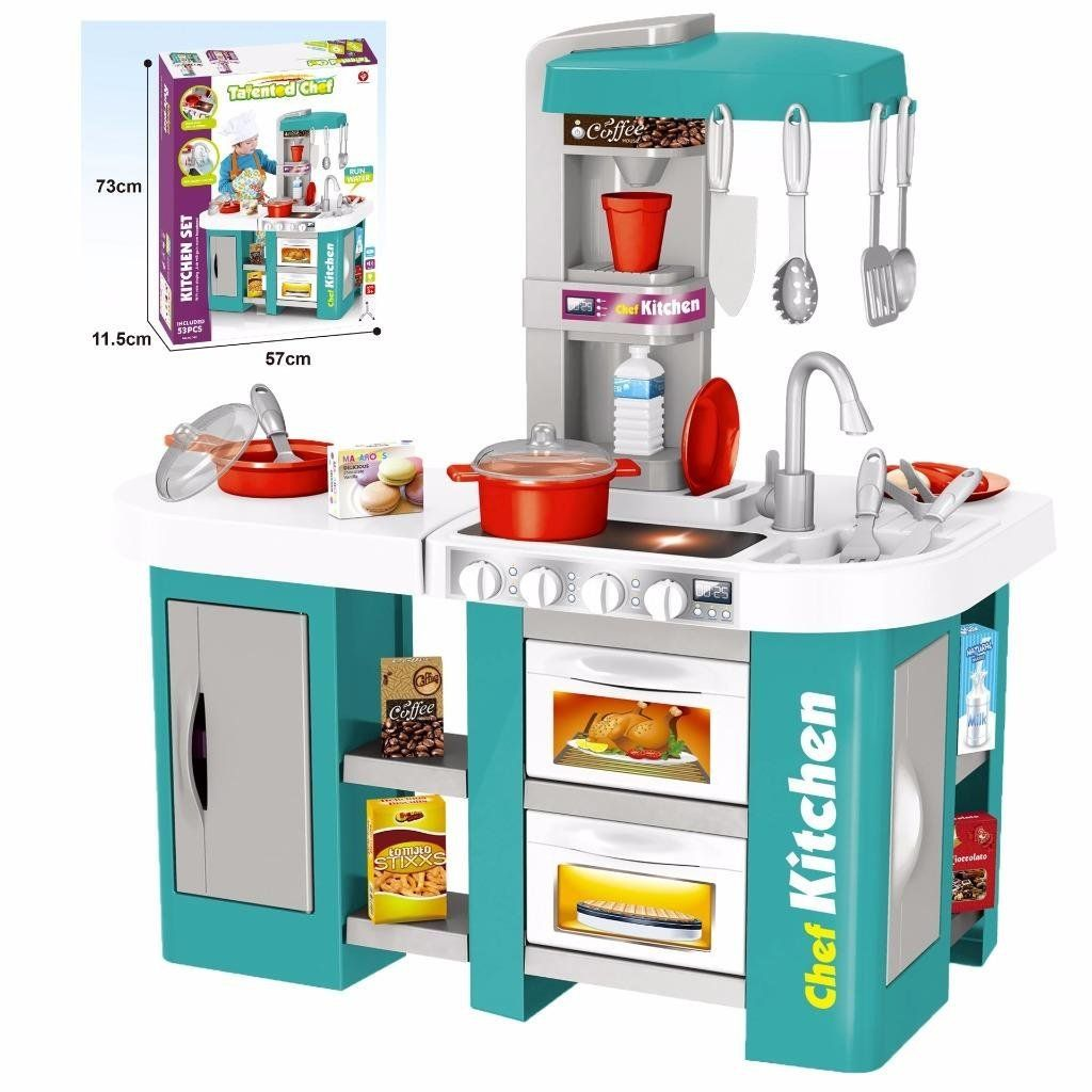 Childs Electronic Pretend Toy Kitchen Role Play Set Lights Sounds Running Water Pink Large Co Uk Toys
