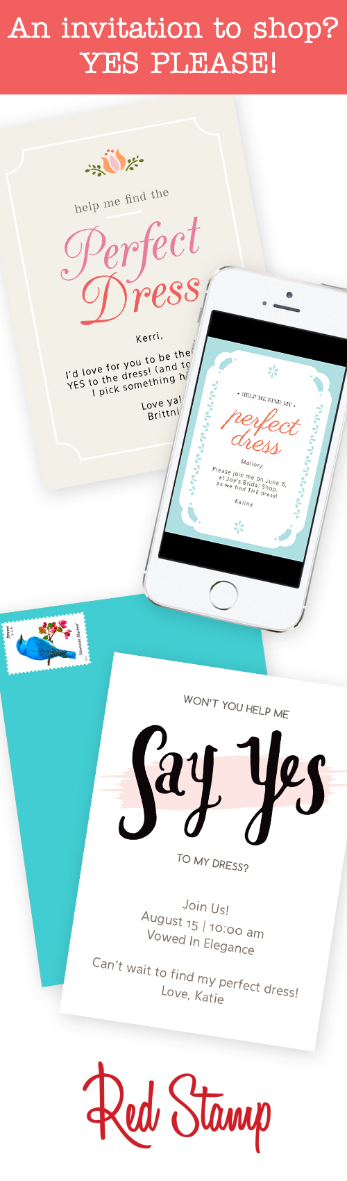 Invite your girls to go wedding dress shopping with you with a ...