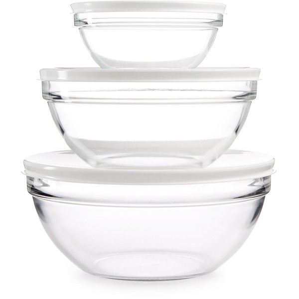 Martha Stewart Collection 3 Pc Set Of Glass Bowls With Lids 30