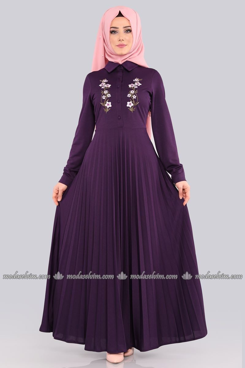 2370f66f94b3c Piliseli Tesettür Elbise 535-L263 Mor | abiye modelleri | Elbiseler ...