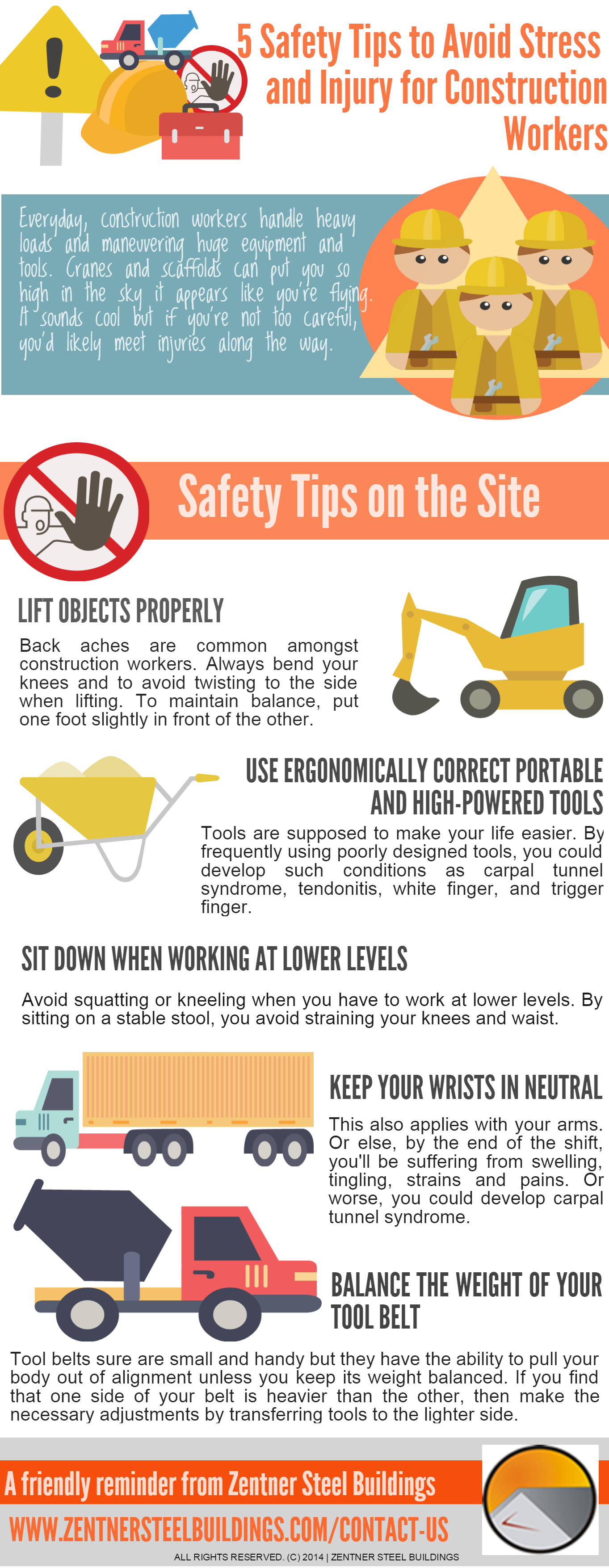 Top tips to staying stress free in the workplace infographic - Infographic 5 Tips To Avoid Stress And Injury For Construction Workers