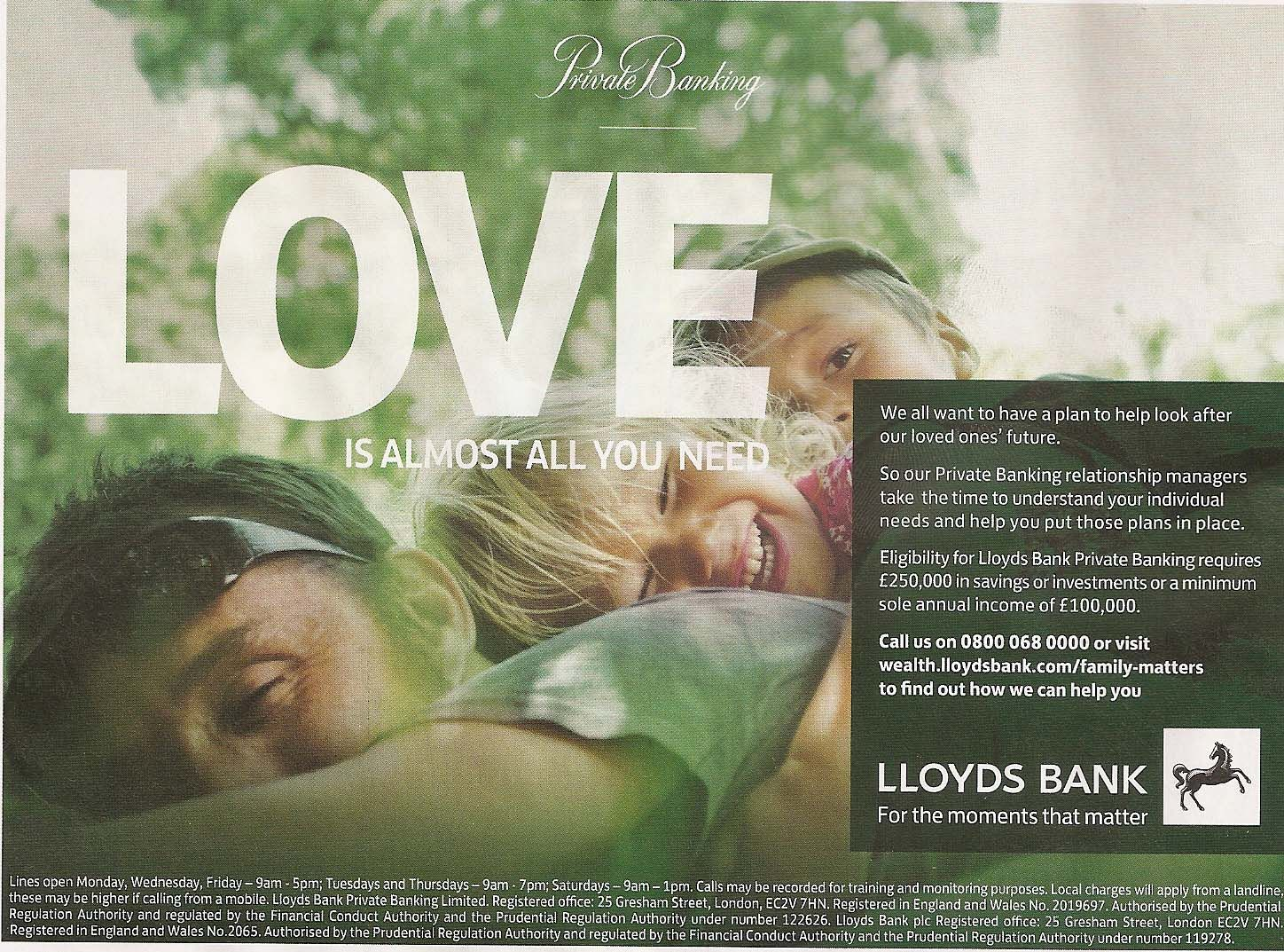 Lloyds Advert Google Search Private Banking Relationship