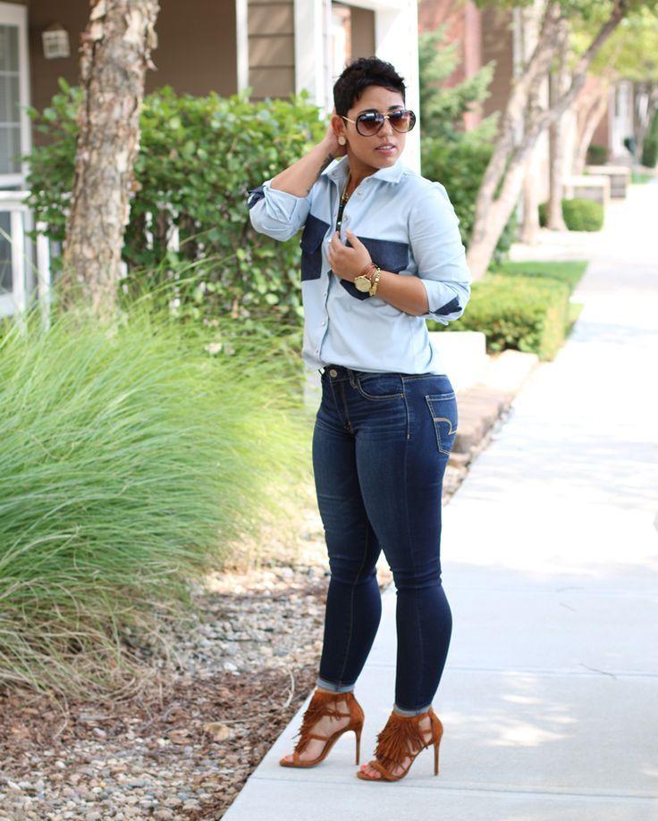 579deefbfcc DIY Denim Button Up Shirt + Pattern Review B7136 - Mimi G Style - white  silk blouse long sleeve
