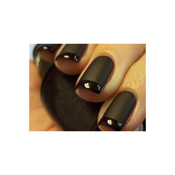 Nail Ideas A Black Matte French Manicure ❤ liked on Polyvore featuring beauty products, nail care, nails, makeup, beauty, nail polish, unhas and black beauty products