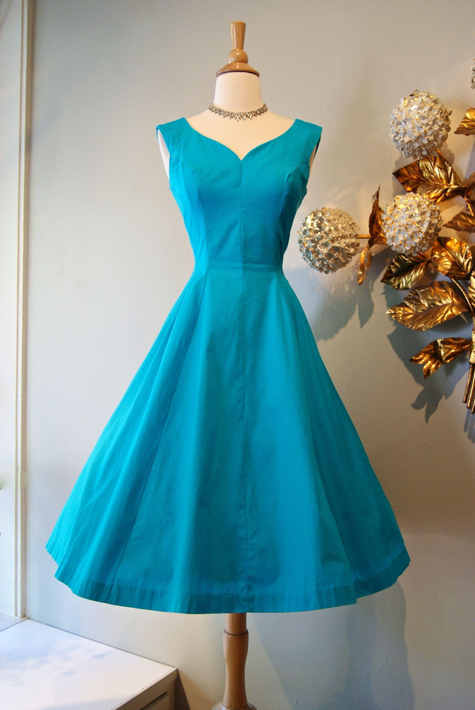 vintage dress / 1950s brilliant blue cotton dress...   Vintage ...
