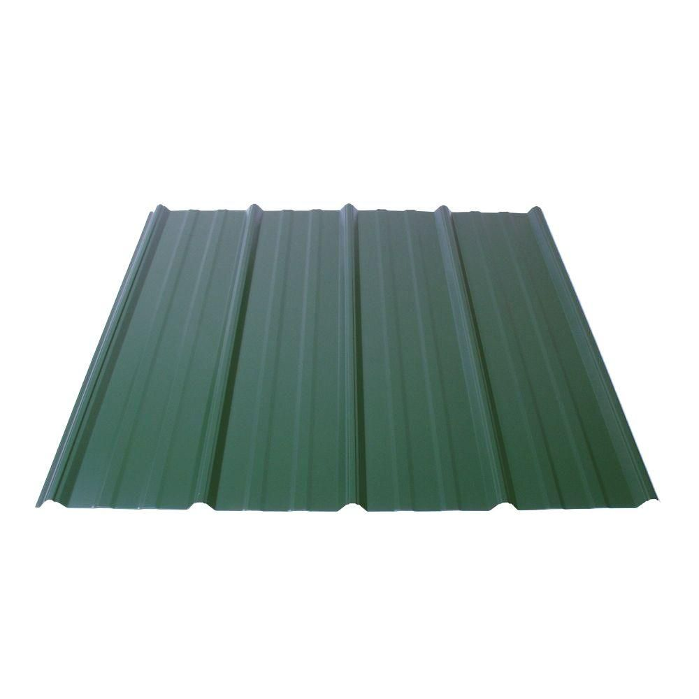 Fabral Shelterguard 8 Ft Exposed Fastener Galvanized Steel Roof Panel In Evergreen 0410115176 The Home Depot In 2020 Roof Panels Steel Roof Panels Corrugated Metal Roof