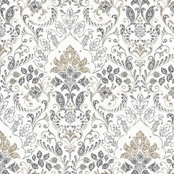 Persian Damask Peel And Stick Wallpaper In 2021 Wallpaper Accent Wall Bathroom Grey Wallpaper Bedroom Grey And White Wallpaper