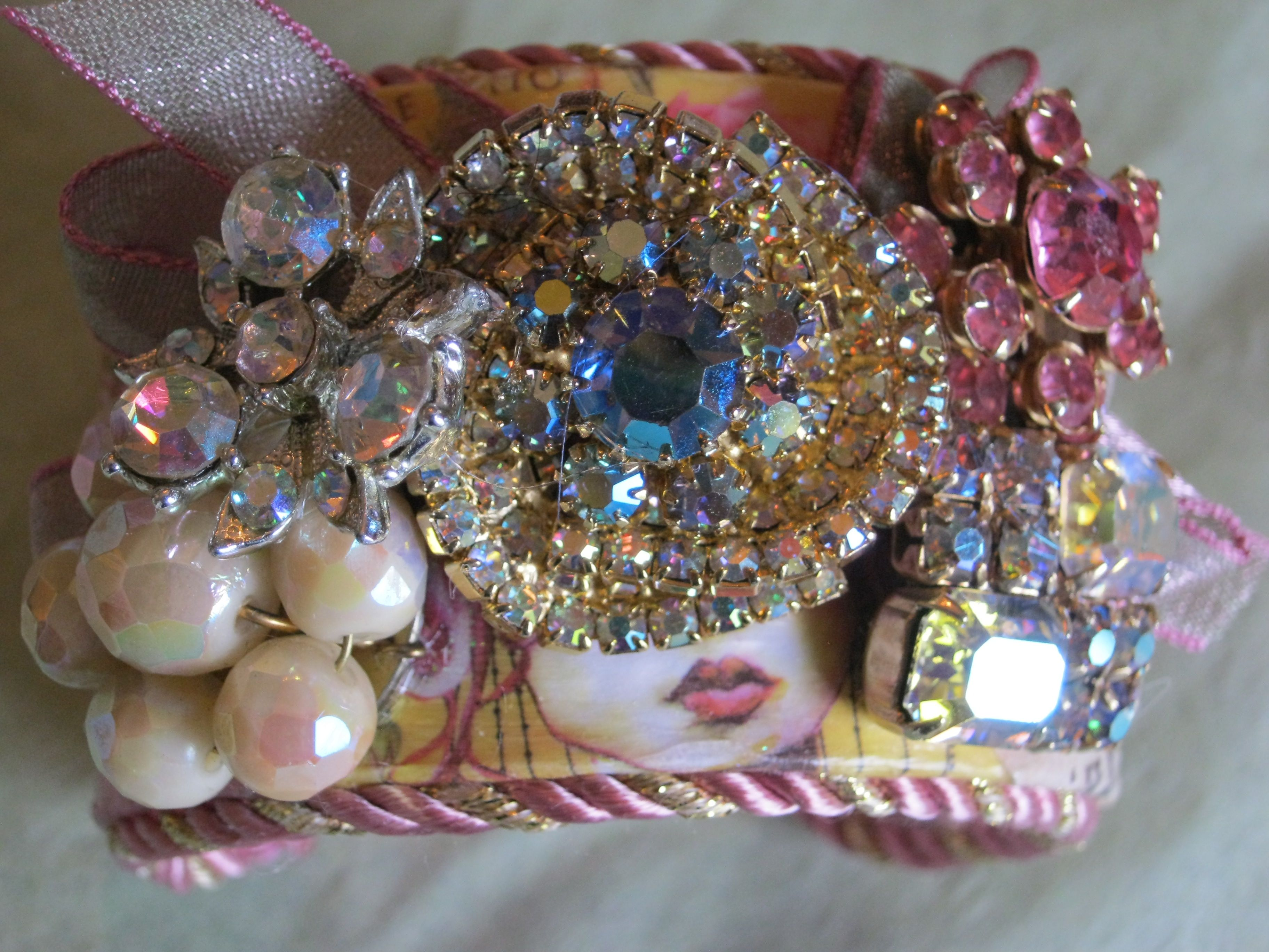 Vintage cuff created with old earrings, pins, etc.  each is one-of-a-kind