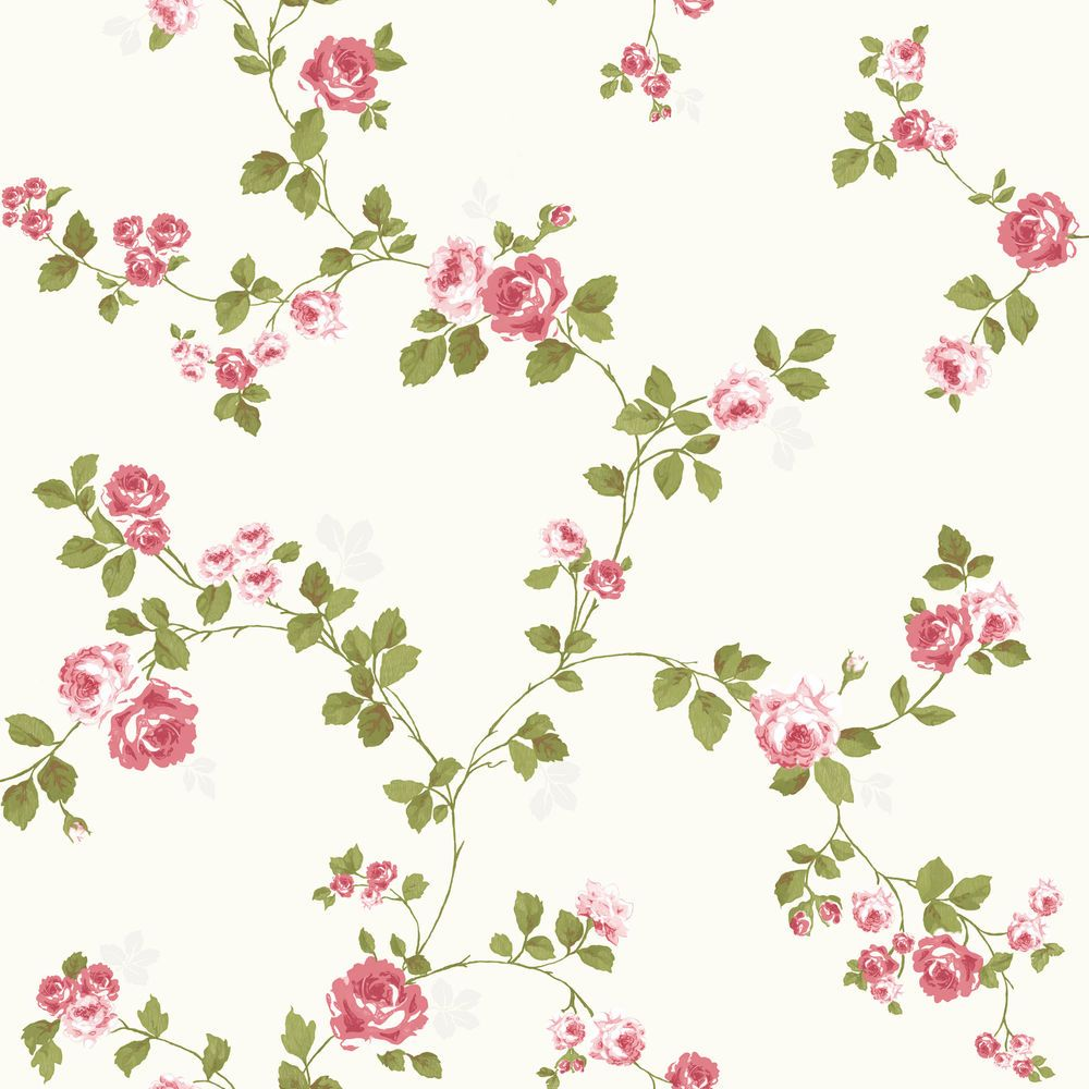 Luxury Shabby Chic Vintage Pink Floral Roses Trail Kitch Style Cream Wallpaper