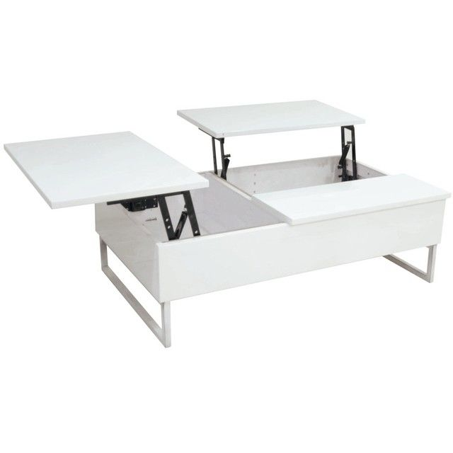 Table basse rectangulaire dot e de 2 plateaux relevables - Table basse qui se monte ...