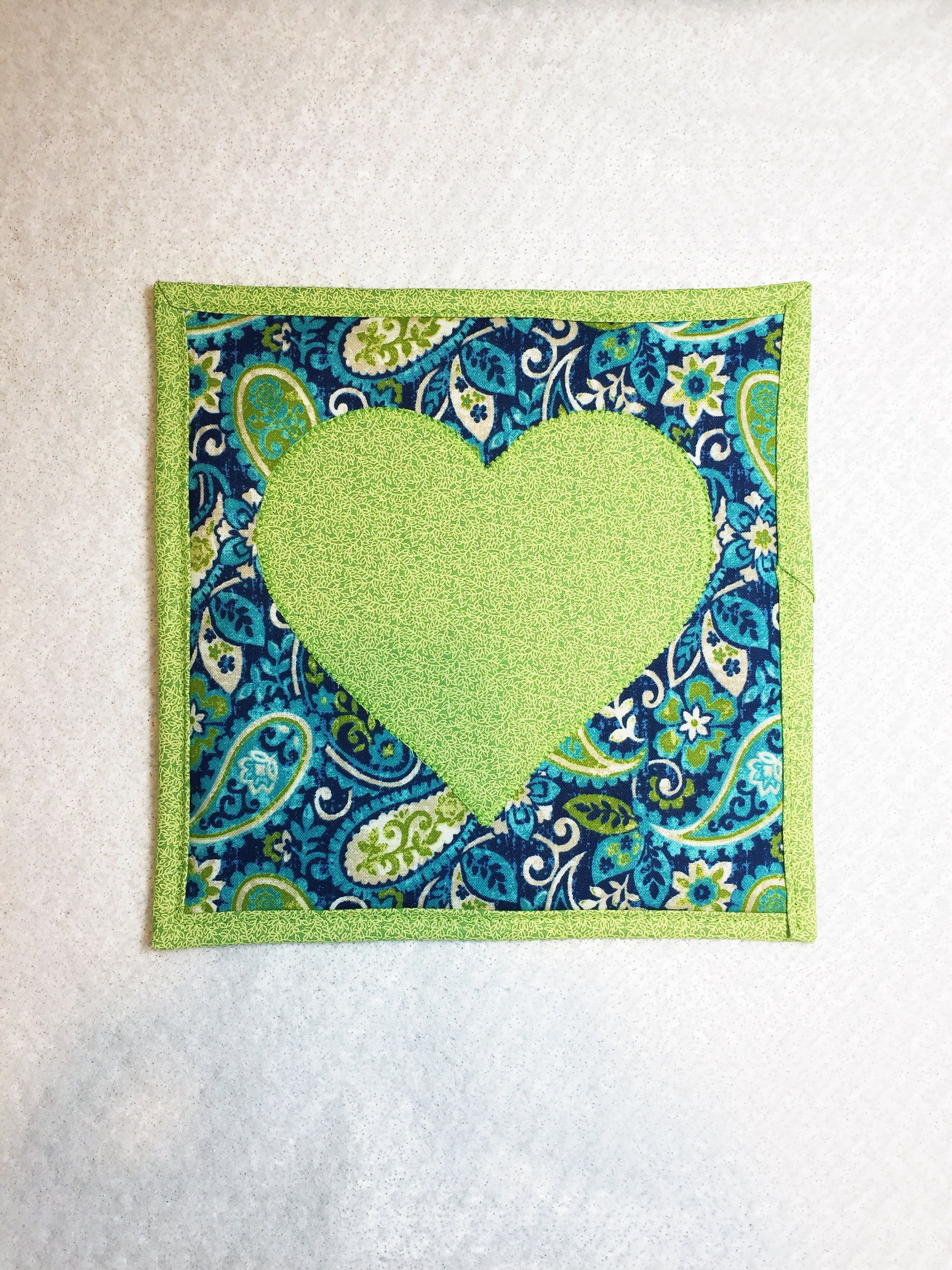 One handmade quilted pot holder kitchen counter hot pads pot