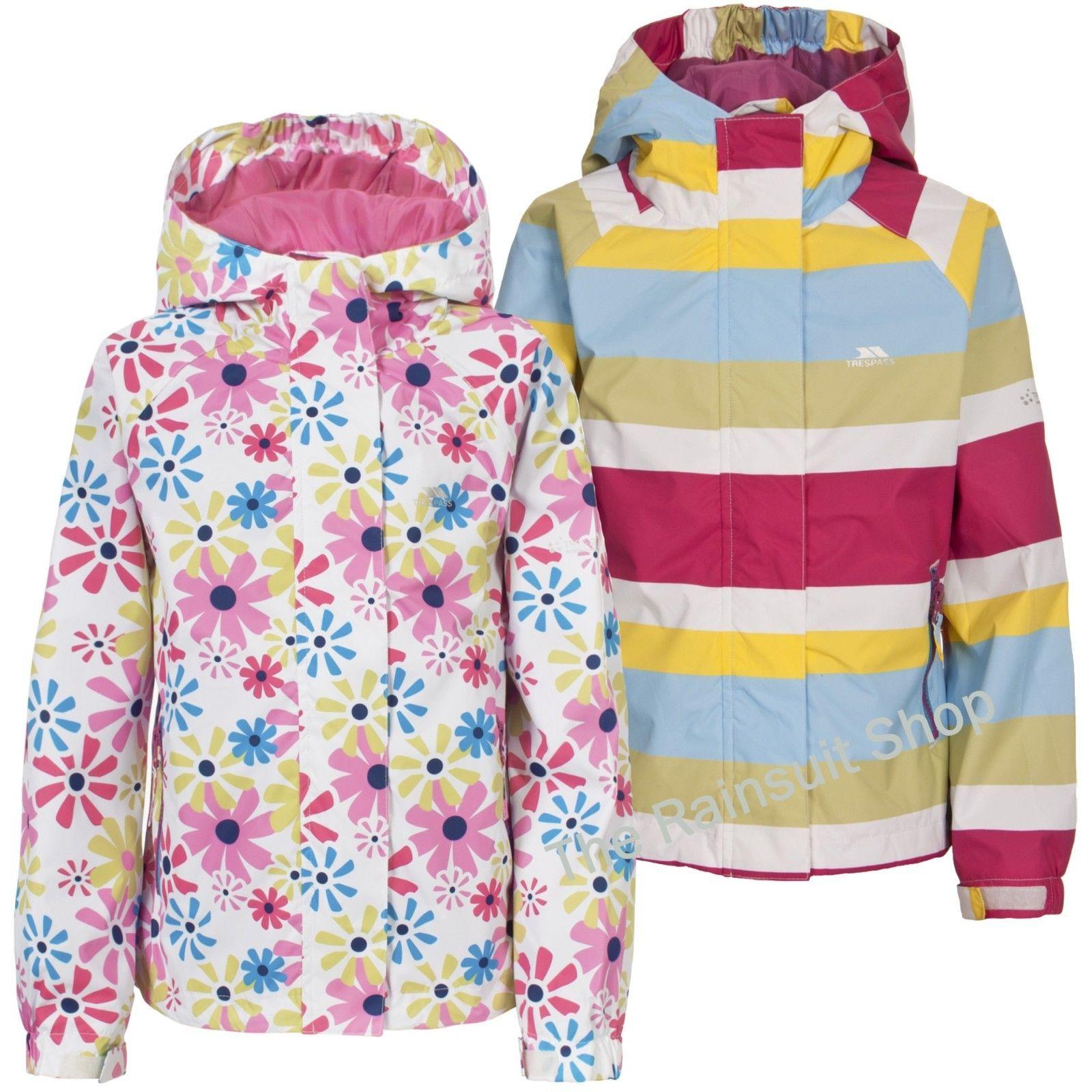 0febbc334 TRESPASS GIRLS WATERPROOF POPSTAR HOODED RAIN JACKET COAT KIDS ...
