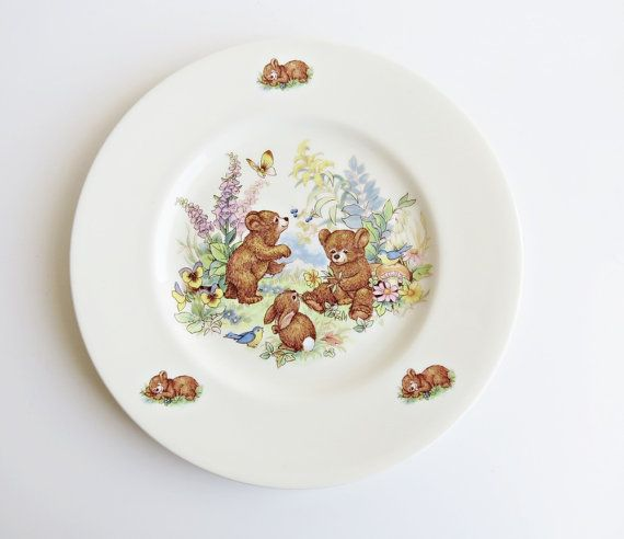 Vintage Johnson Ceramics Staffordshire Bone China Taddy Bear or Bear and Rabbit Plate