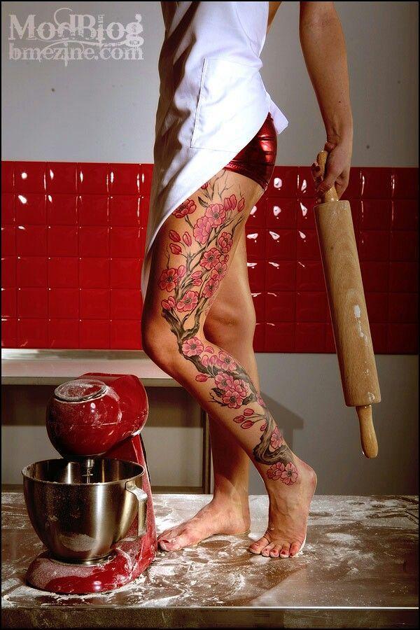 Cherry Blossom Tree Full Leg And Thigh Tattoos Pinterest Girl Leg Tattoos Leg Tattoos Women Leg Sleeves