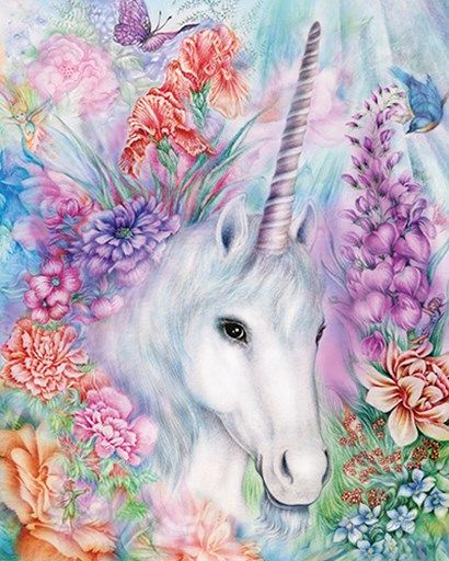P S  Art Studios Floral Unicorn - Unicorn and fairies, Unicorn painting, Unicorn art, Unicorn artwork, Unicorn pictures, Unicorn drawing - Floral Unicorn by P S  Art Studios This Floral Unicorn Fine Art Print and related works can be found at FulcrumGallery com