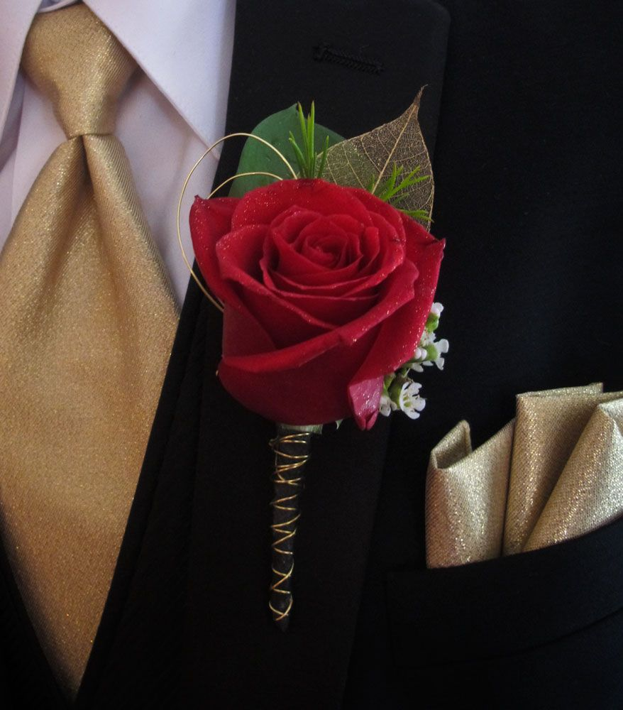 Gold And Black Red Rose Boutonniere For Prom My Designs
