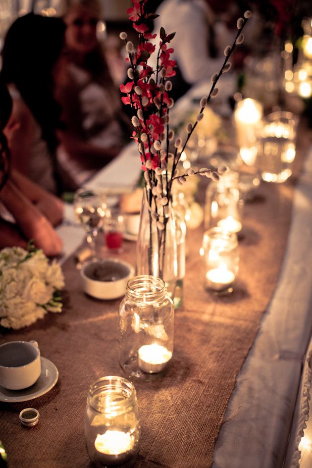 I Love The Mason Jars With Tea Lights Wedding Candles Table Wedding Table Decorations Tea Lights Centerpieces