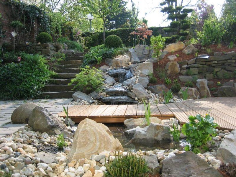 Wasserfall am Teich mit Steg Garten Pinterest Water features