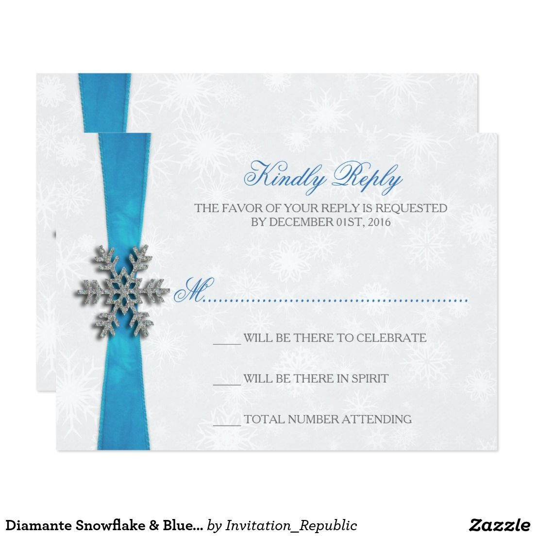 Diamante Snowflake & Blue Ribbon Winter Wedding Card