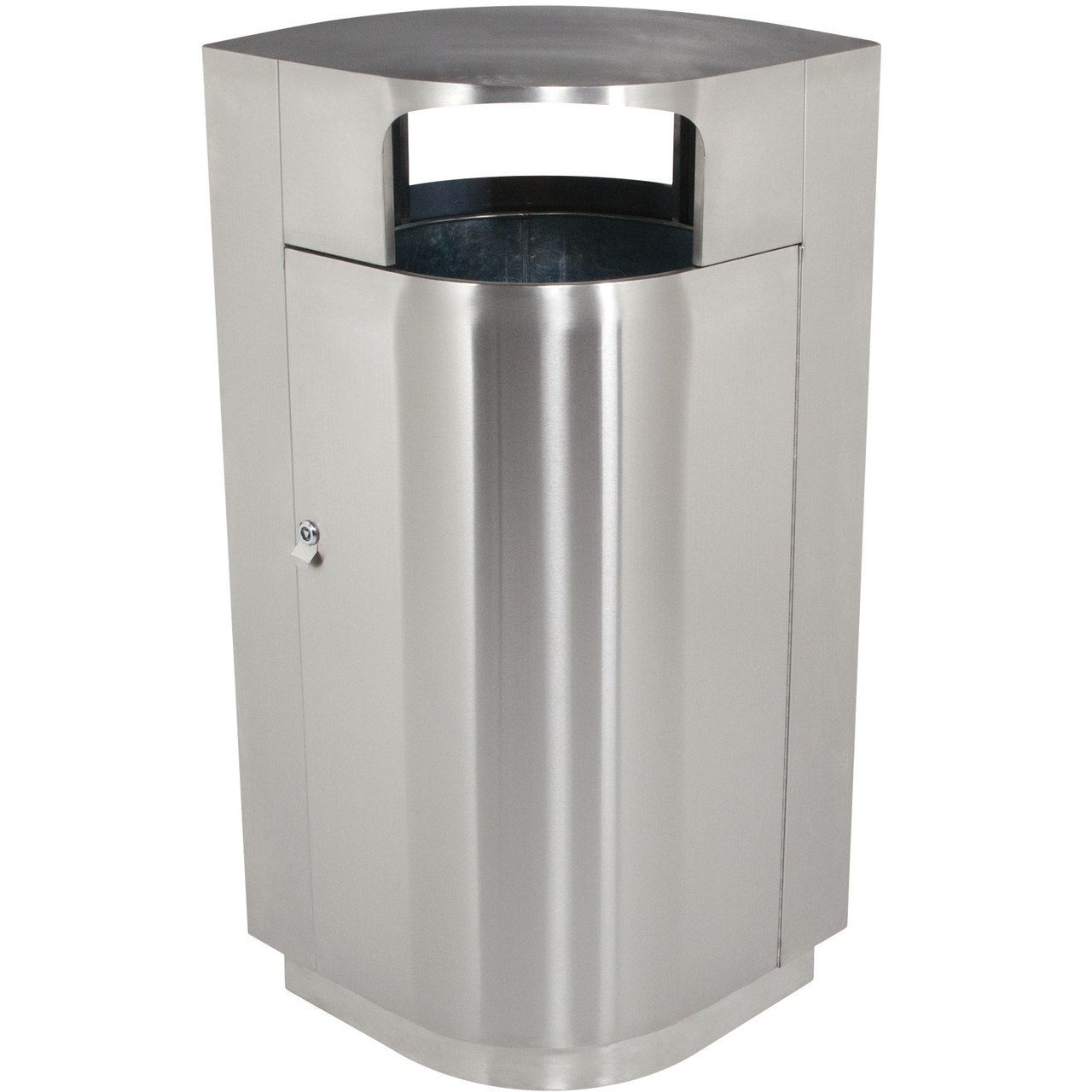 40 Gallon Leafview Locking Stainless Steel Lockable Trash Can 782029 ...