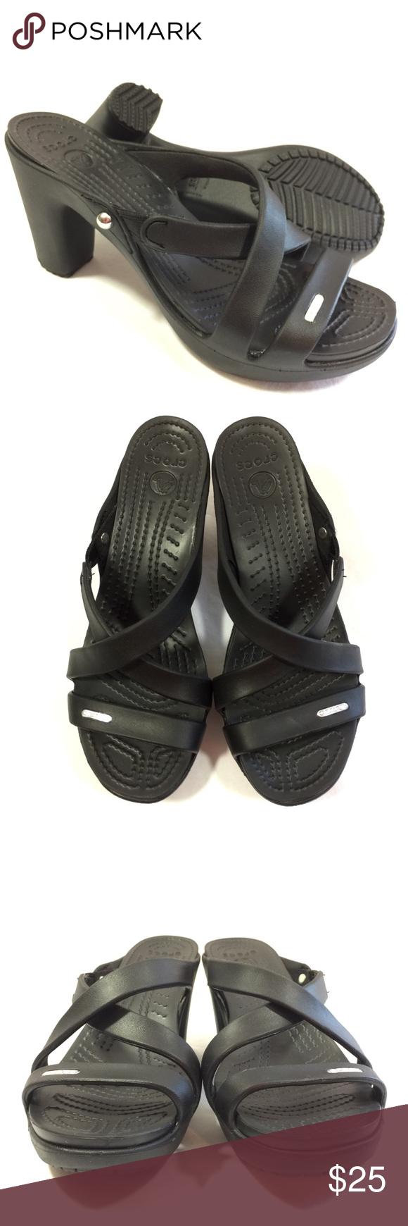 "f9cbca461368 Crocs Women s Black Cyprus IV Heels Sandals Size 8 Nearly new. Only worn a  few times. 3.5"" Heel CROCS Shoes Heels"