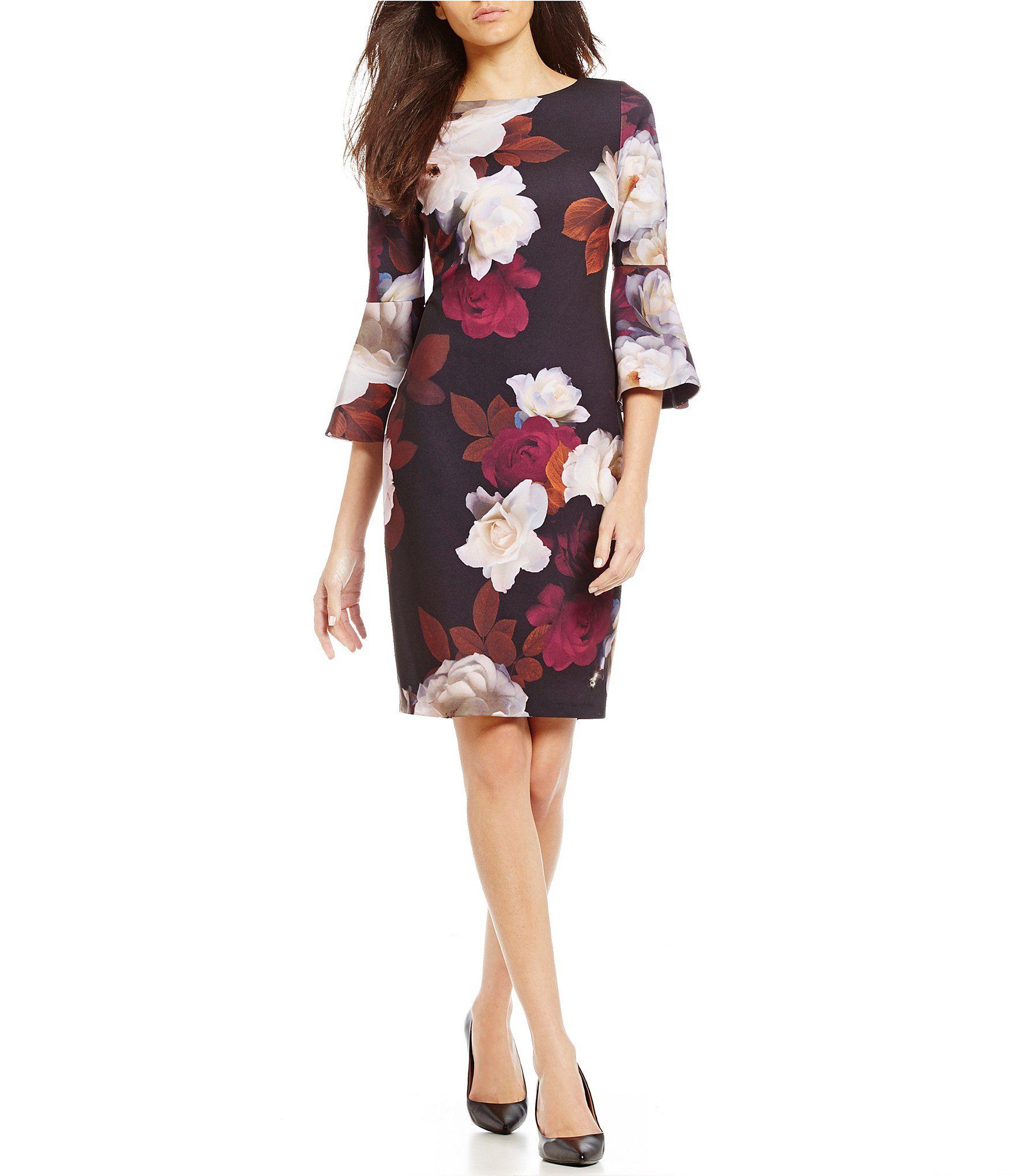 e41a250298059 Calvin Klein Bell-Sleeve Floral Sheath Dress
