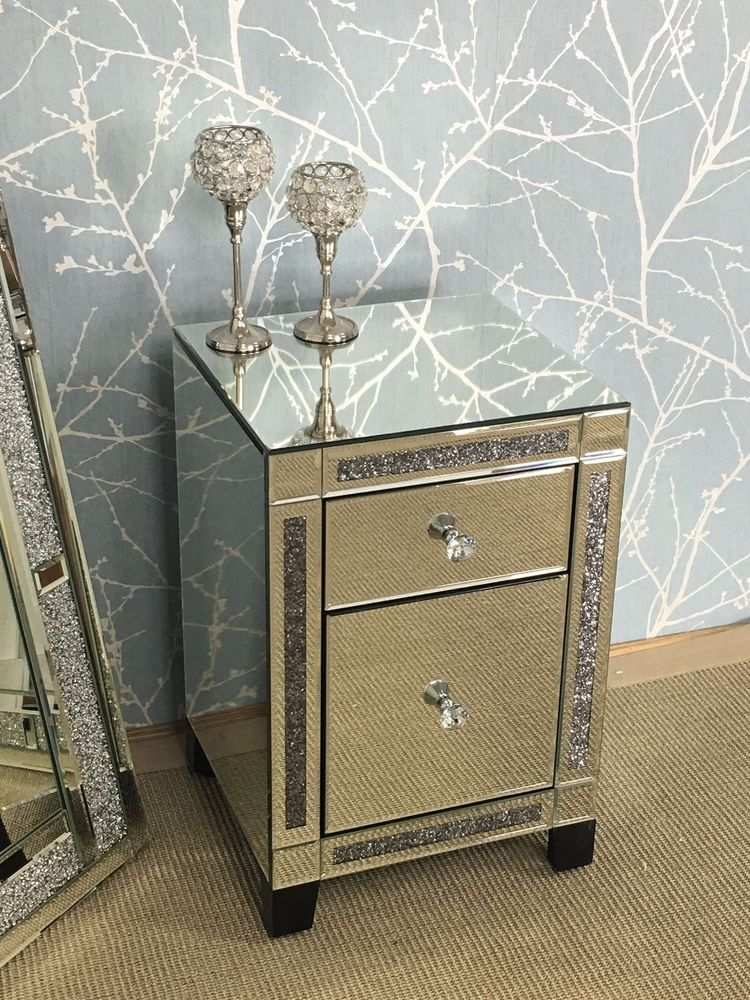 Mirrored Bedside Table With Drawers: Details About Diamond Crush Mirrored Crystal 2 Drawer