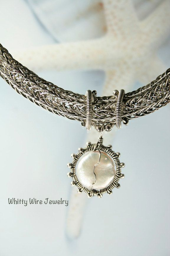 Silver Viking knit with pearls | Jewellery Ideas: Viking Knitting ...
