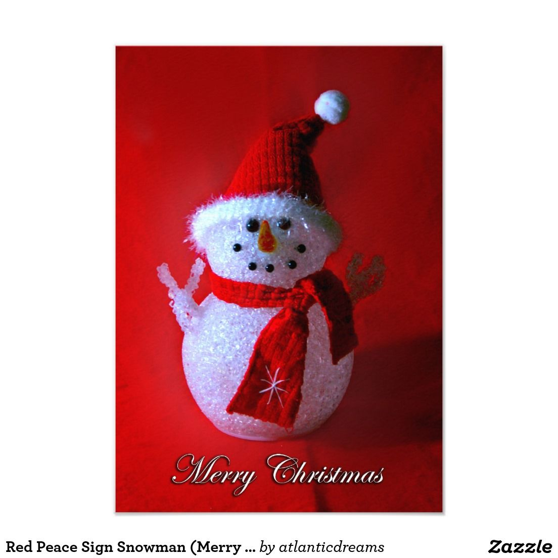 Red Peace Sign Snowman (Merry Christmas) 3.5x5 Paper Invitation Card