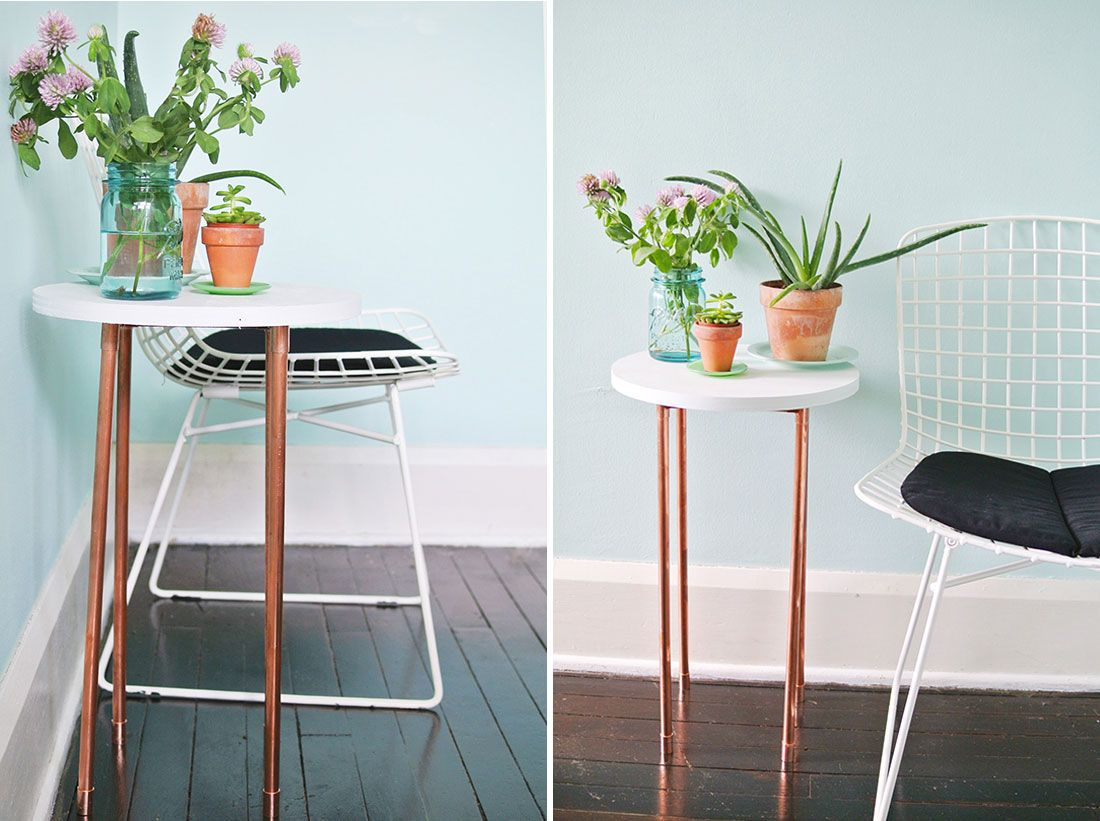 Exceptional This DIY Copper Pipe Side Table Is Perfect For Small Spaces