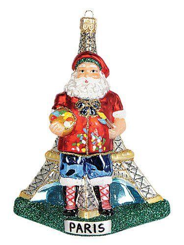 Paris France Santa Polish Glass Christmas Ornament Eiffel Tower