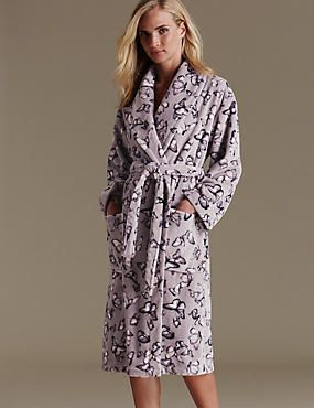 Ladies Cosy Printed Dressing Gown Winter Floral Print Warm Bath Robe