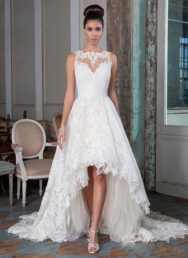 New Collection 2016 Lace Wedding Dresses Plus Size Bridal Gowns High