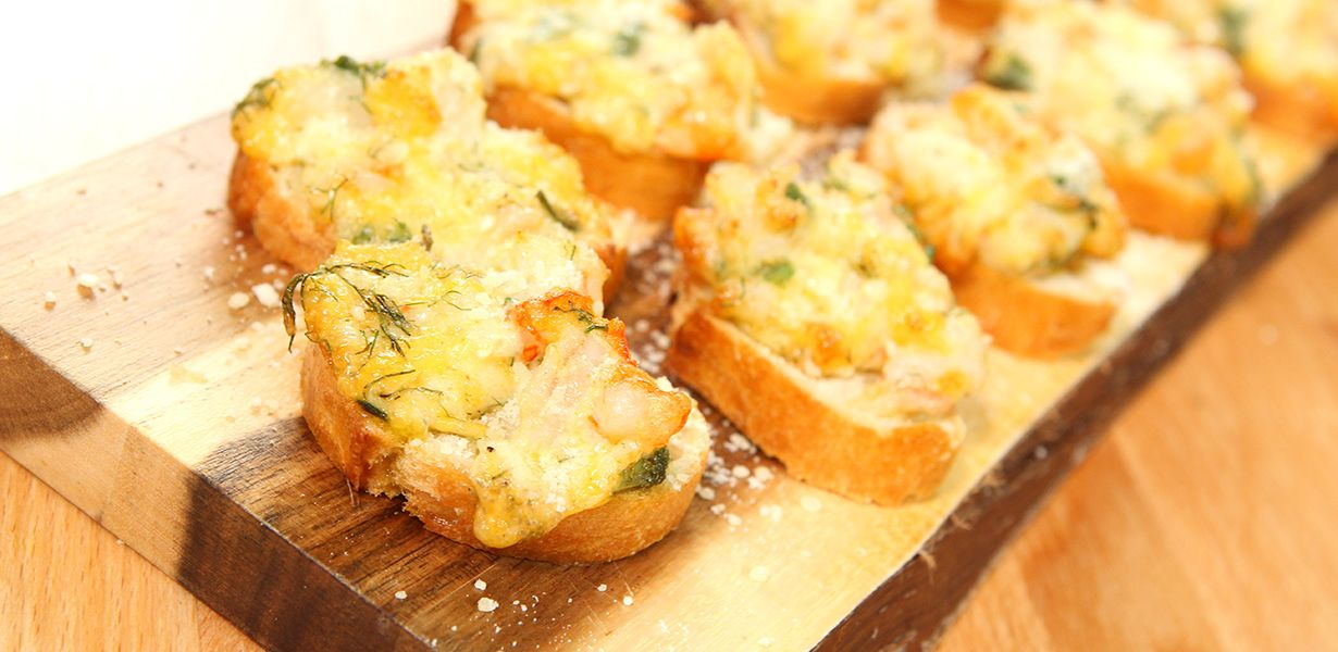 Cheesy Shrimp Crostini Recipe Appetizer Recipes Seafood Recipes Recipes