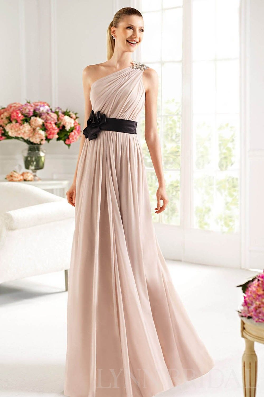 Draped one shoulder chiffon long bridesmaid dress with black ribbon