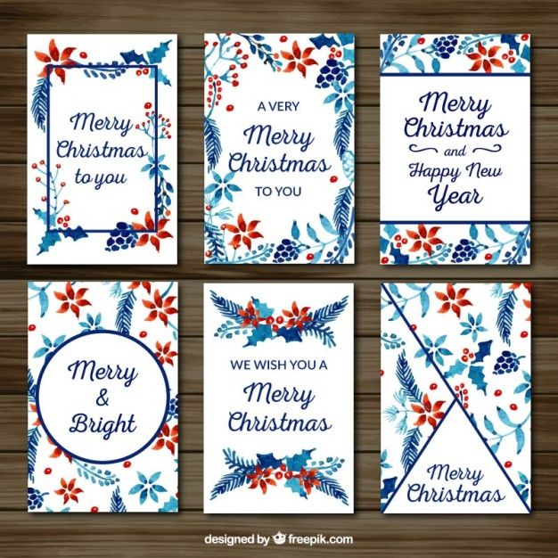 Collection of watercolor pretty floral christmas cards Free Vector