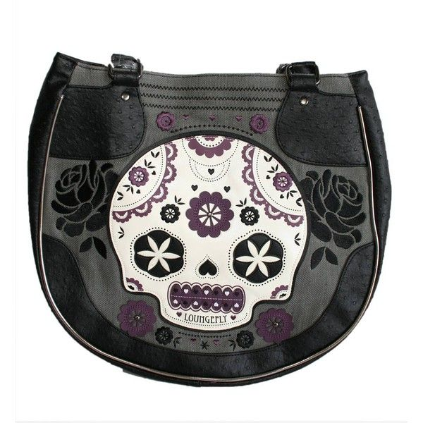 LOUNGEFLY PURPLE AND GRAY SUGAR SKULL BAG ❤ liked on Polyvore