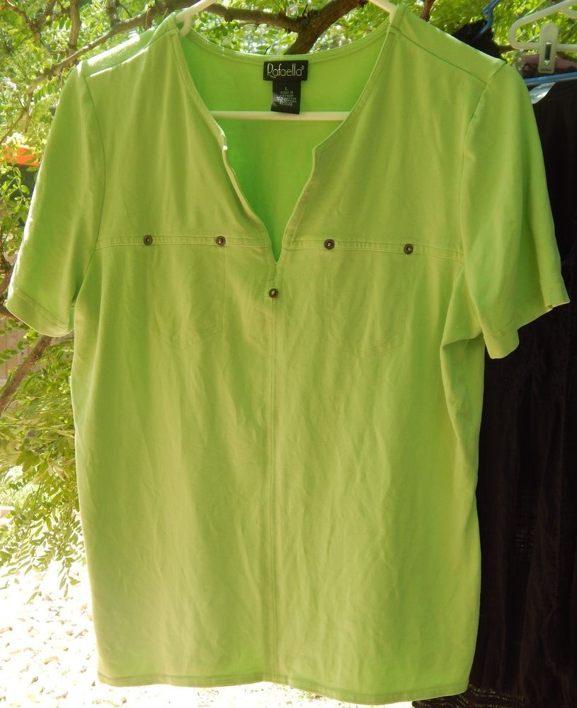23cf90770da8d9 Womens Rafaella Lime Green Short Sleeve Shirt Cotton Spandex Size L  #Rafaella #KnitTop #Casual