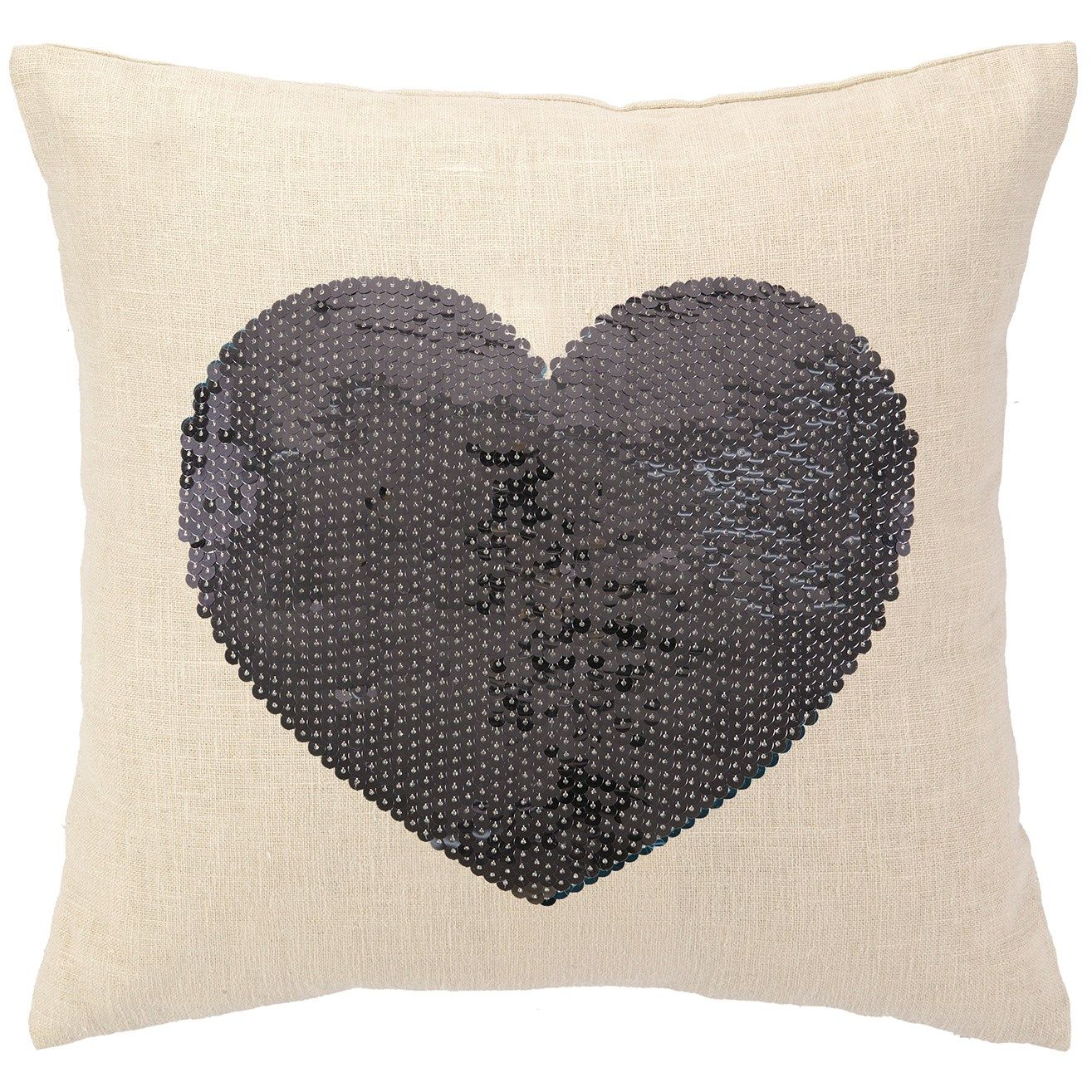 Sequin Heart Silver Pillow